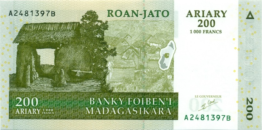 Madagascar P87a 200 Ariary (1.000 Francs) 2004 UNC