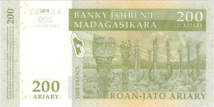 Madagascar P87b 200 Ariary (1.000 Francs) 2004 UNC
