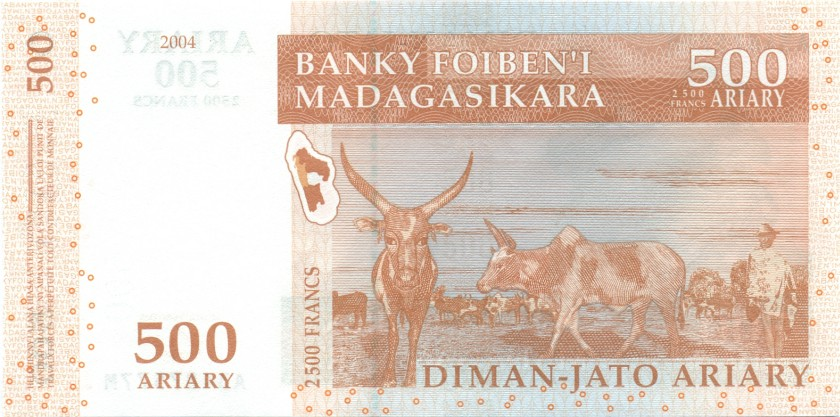 Madagascar P88b 2.500 Francs (500 Ariary) 2004 UNC