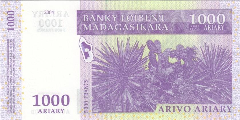 Madagascar P89a 5.000 Francs (1.000 Ariary) 2004 UNC