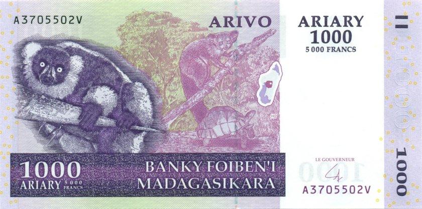 Madagascar P89b 5.000 Francs (1.000 Ariary) 2004 UNC