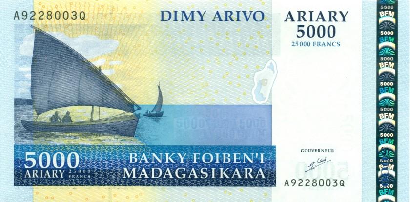 Madagascar P91a 25.000 Francs (5.000 Ariary) 2007 UNC
