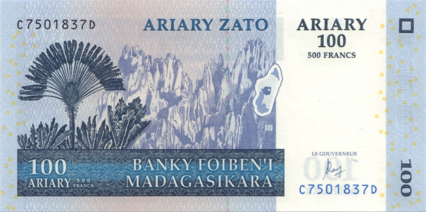 Madagascar P-NEW 100 Ariary (500 Francs) 2004 (2016) UNC