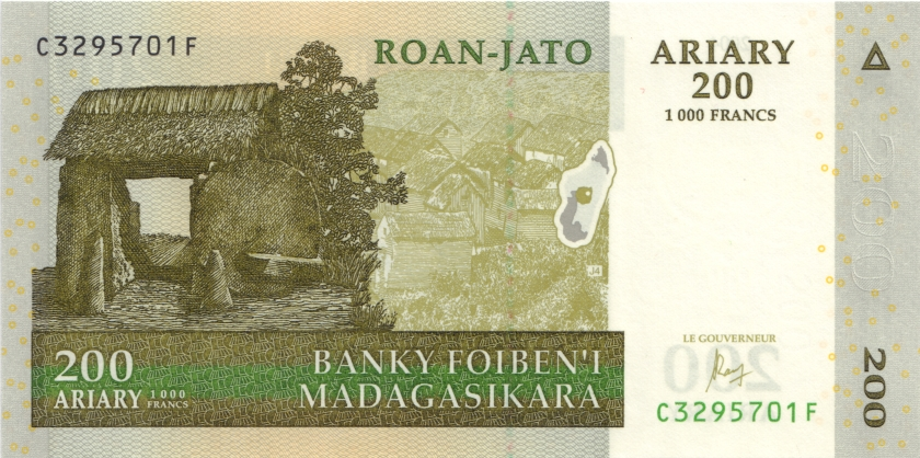 Madagascar P87c 200 Ariary (1.000 Francs) 2004 (2016) UNC