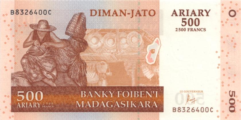 Madagascar P88c 500 Ariary (2.500 Francs) 2004 (2016) UNC