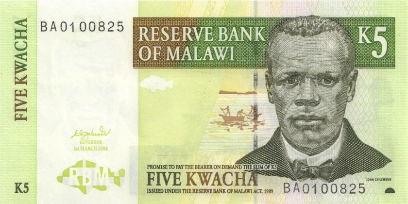 Malawi P36b 5 Kwacha 2004 UNC