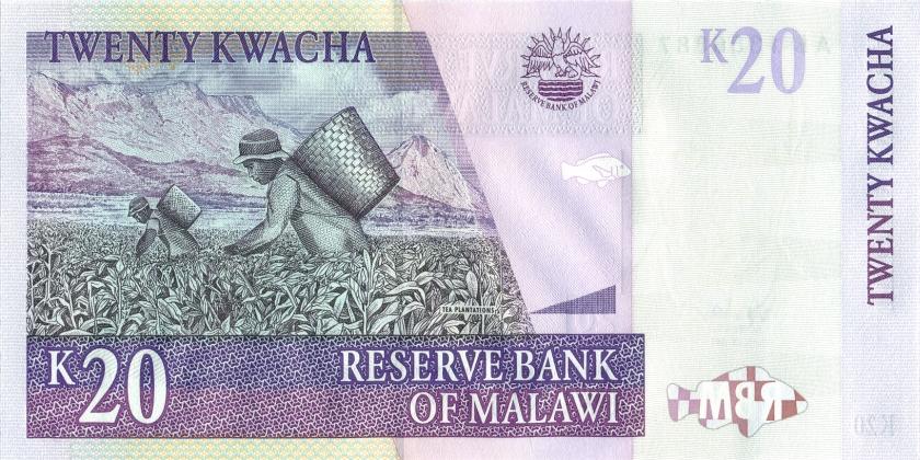 Malawi P38a 20 Kwacha 1997 UNC
