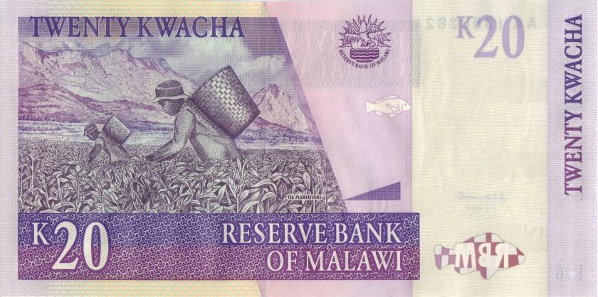 Malawi P44b 20 Kwacha 2004 UNC