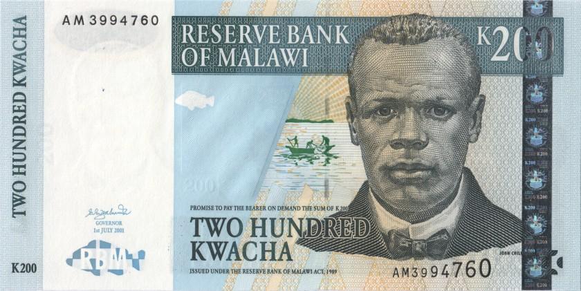 Malawi P47a 200 Kwacha 2001 UNC