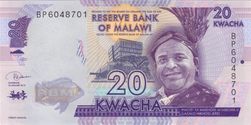 Malawi P63e 20 Kwacha 2019 UNC