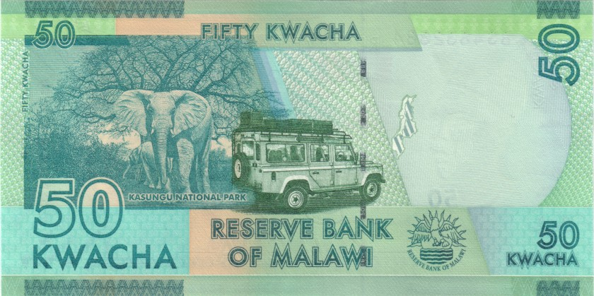 Malawi P64e 4832384 RADAR 50 Kwacha 2018 UNC