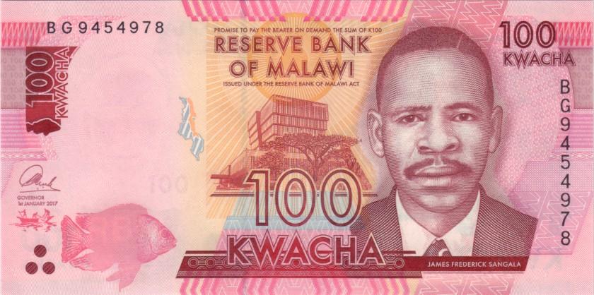 Malawi P65c 100 Kwacha 2017 UNC