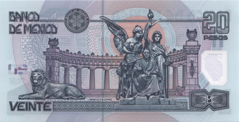 Mexico P116a(3) 20 Pesos 2001 UNC