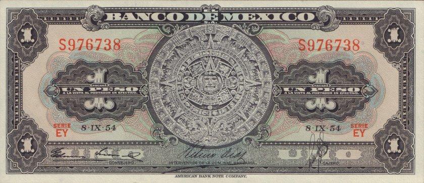 Mexico P56b 1 Peso 1954 AU