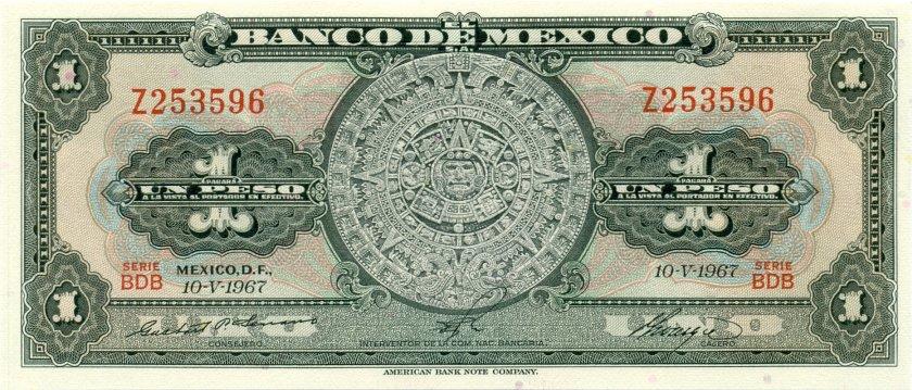 Mexico P59j(1) 1 Peso 1967 UNC