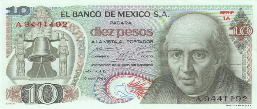 Mexico P63a 10 Pesos 1969 UNC