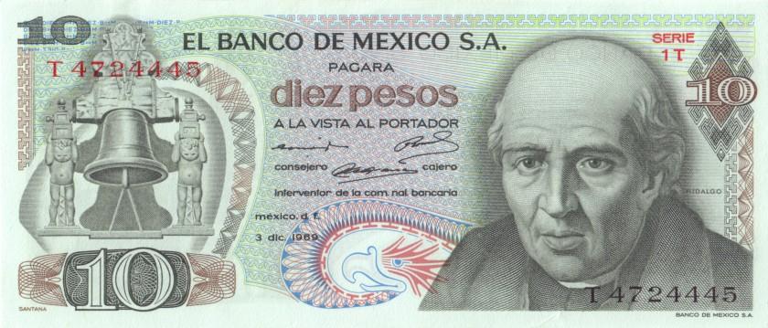 Mexico P63b(3) 10 Pesos 1969 UNC