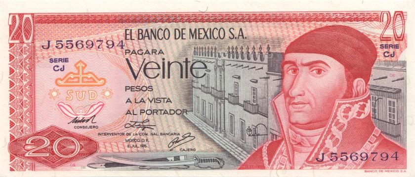 Mexico P64c(5) 20 Pesos 1976 UNC