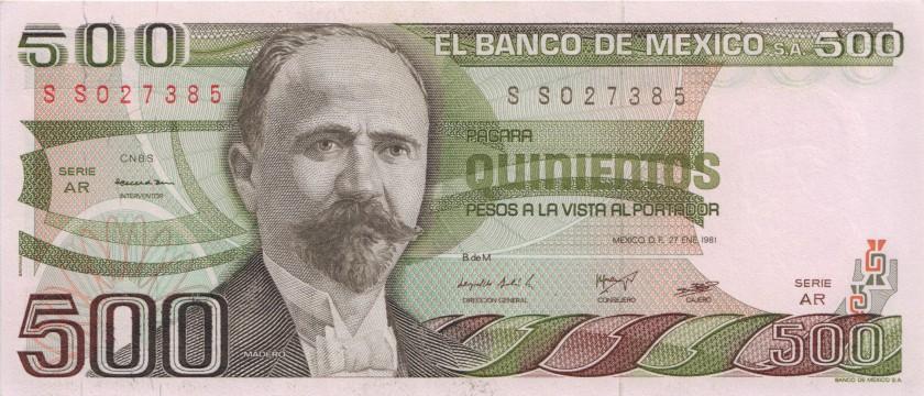 Mexico P75a 500 Pesos Serie AR 1981 UNC