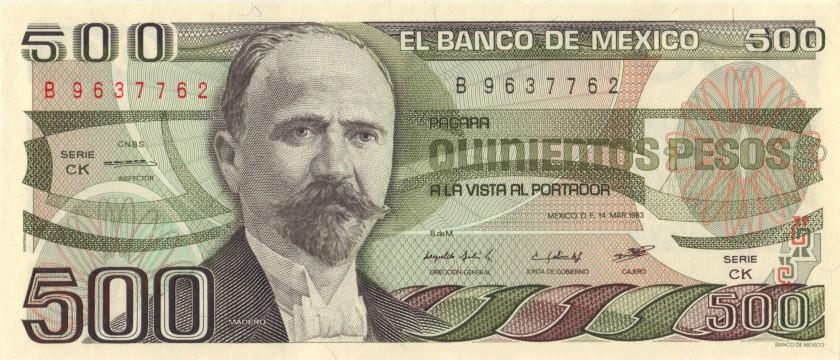 Mexico P79a 500 Pesos Series CK 1983 UNC