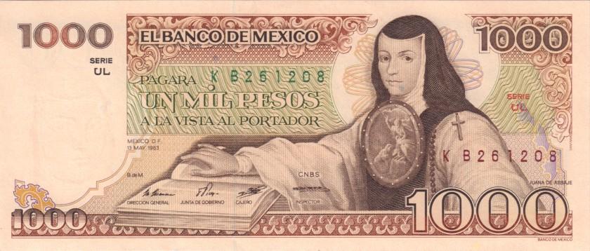 Mexico P80a 1.000 Pesos Series UL 1983 UNC