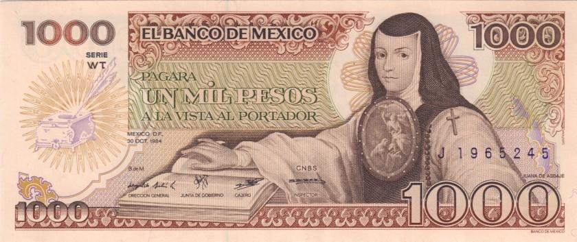 Mexico P81 1.000 Pesos Series WT 1984 UNC