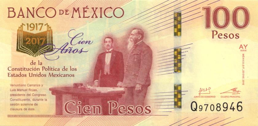Mexico P130 100 Pesos Prefix Q 2016 UNC
