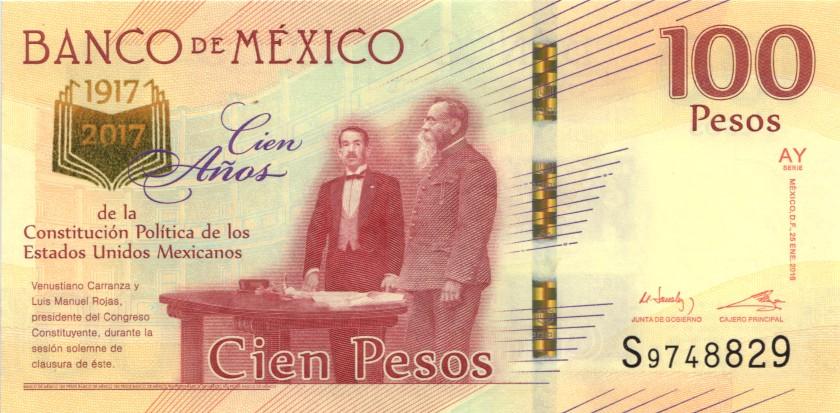 Mexico P130 100 Pesos Prefix S 2016 UNC