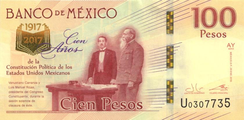 Mexico P130 100 Pesos Prefix U 2016 UNC
