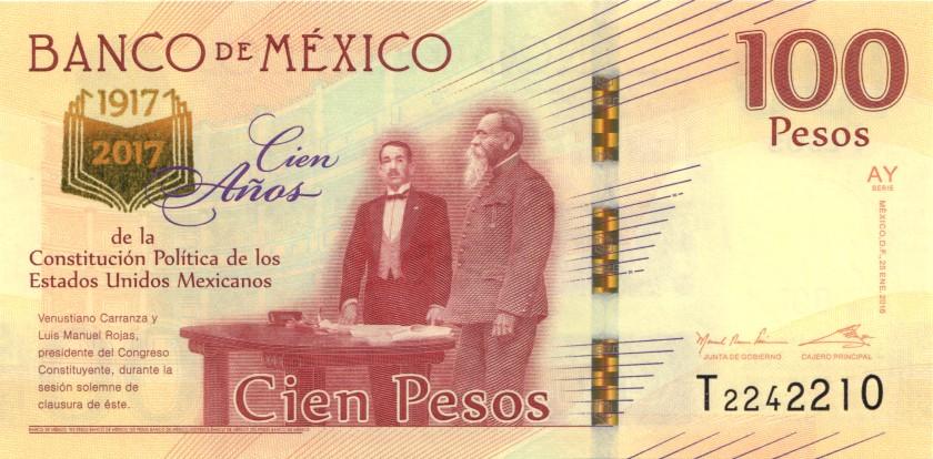 Mexico P130 100 Pesos Prefix T 2016 UNC