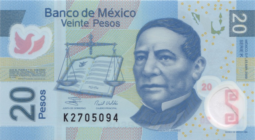 Mexico P122gK 20 Pesos Serie K 2009 UNC