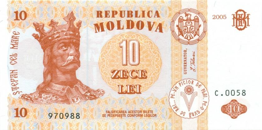 Moldova P10d 10 Lei 2005 UNC