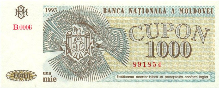 Moldova P3 1.000 Coupons 1993 UNC