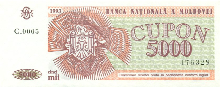 Moldova P4 5.000 Coupons 1993 UNC