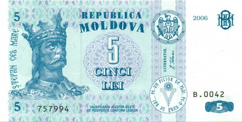 Moldova P9e 5 Lei 2006 UNC