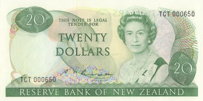 New Zealand P173b 20 Dollars 1981-1992 UNC