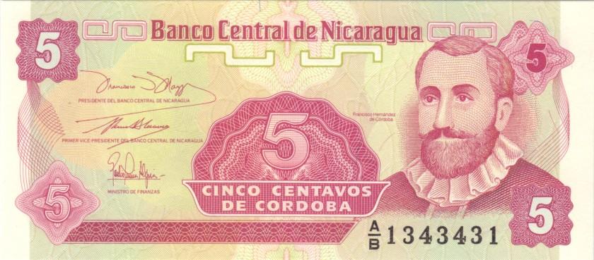 Nicaragua P168 1343431 RADAR 5 Centavos de Córdoba 1991 UNC