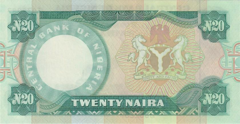 Nigeria P26e 20 Naira 1984-2000 UNC