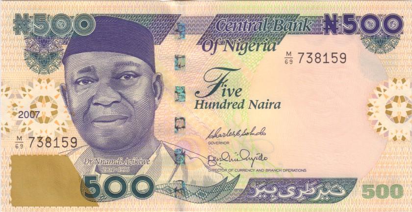 Nigeria P30g 500 Naira 2007 UNC