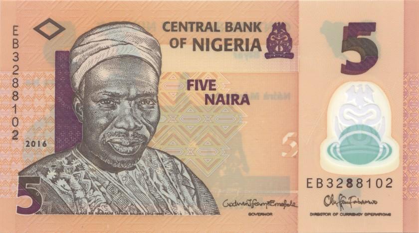 Nigeria P38g 5 Naira 2016 UNC