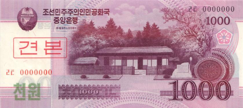 North Korea P64s 1.000 Won SPECIMEN 2008 (2009) UNC