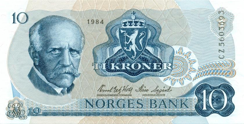Norway P36c7 10 Kroner 1984 UNC