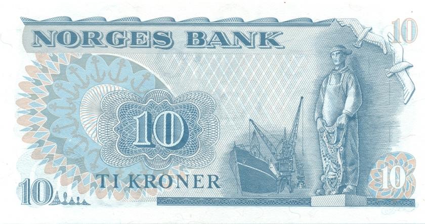 Norway P36c 10 Kroner 1977 UNC