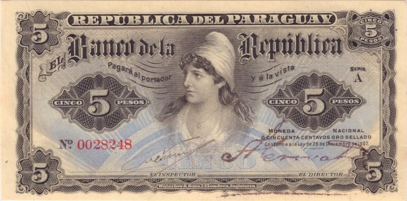 Paraguay P156(1) 5 Pesos 1907 UNC
