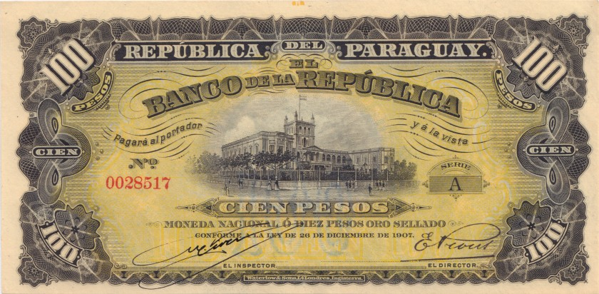 Paraguay P159(1) 100 Pesos 1907 UNC