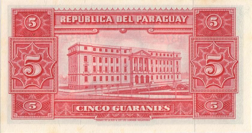 Paraguay P186c 5 Paraguayan Guaraníes 1952 UNC