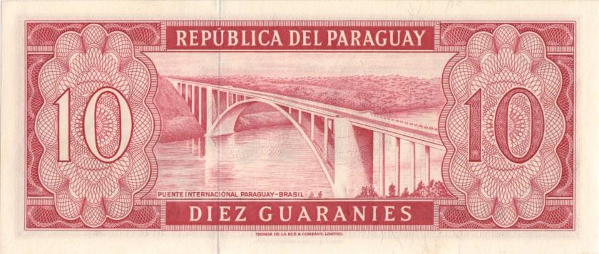Paraguay P196a(2) 10 Paraguayan Guaraníes 1963 UNC