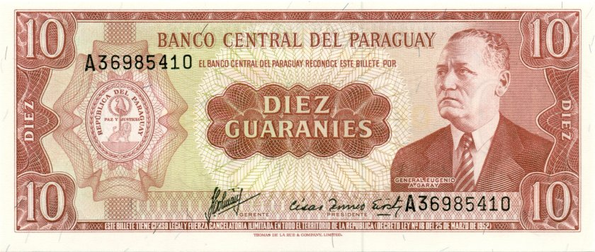 Paraguay P196b 10 Paraguayan Guaraníes 1963 UNC