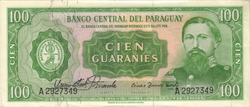 Paraguay P198 100 Paraguayan Guaraníes 1963