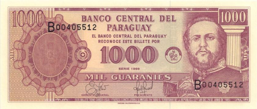 Paraguay P214a 1.000 Paraguayan Guaranies 1998 UNC